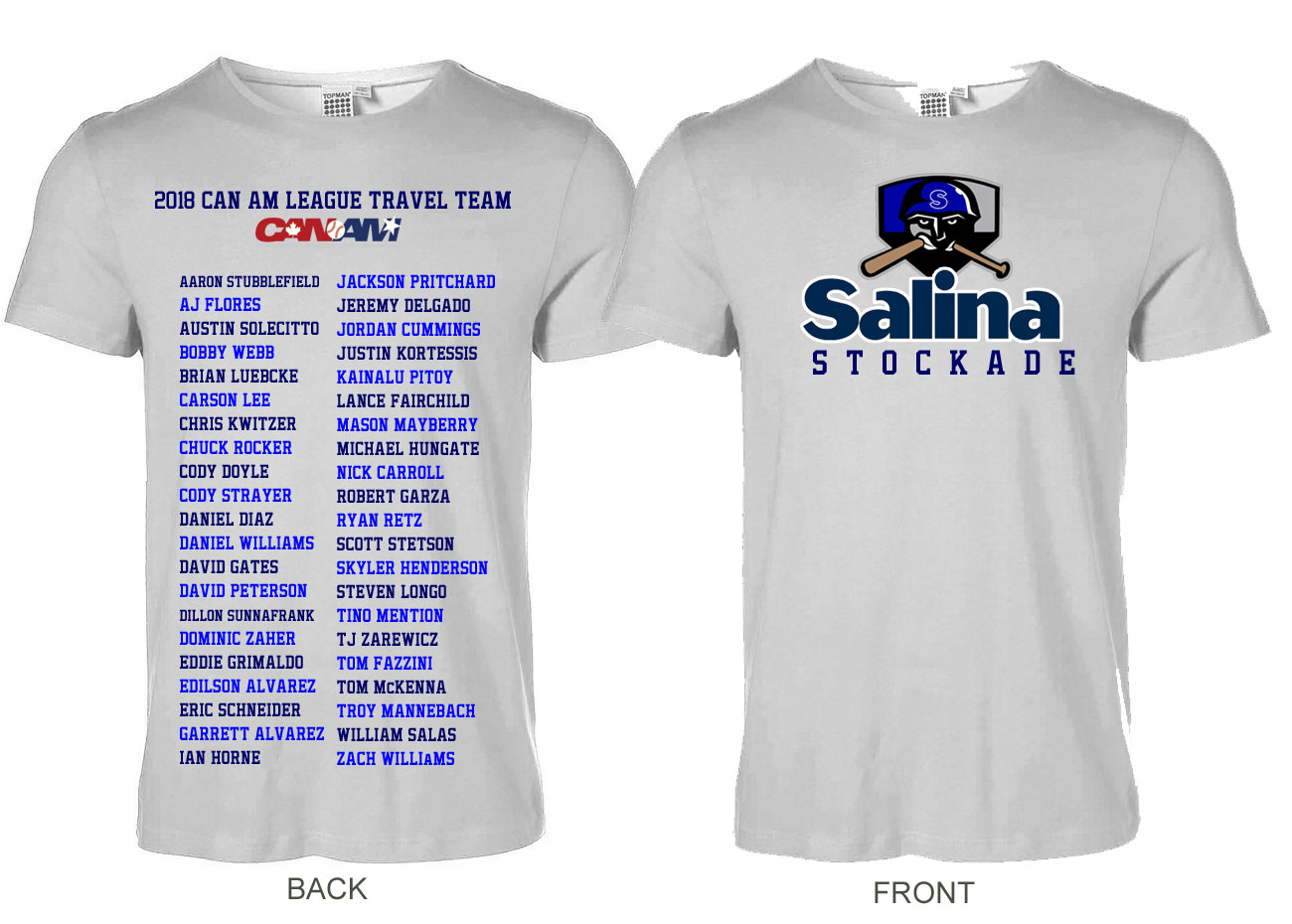 24 95 2018 Salina Stockade Can Am League T Shirt Has Logo On Front And Player Names The Back More